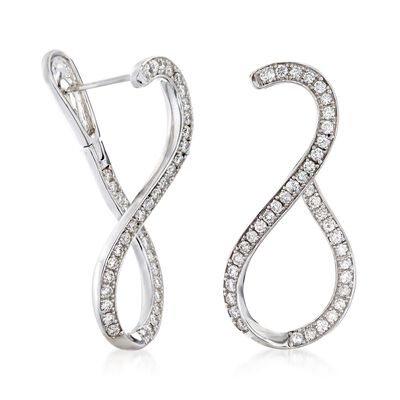 1.00 ct. t.w. Diamond Twist Hoop Earrings in 14kt White Gold, , default