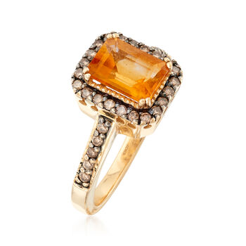 C. 1990 Vintage 1.45 Carat Citrine and .50 ct. t.w. Champagne Diamond Ring in 14kt Yellow Gold. Size 6.75, , default