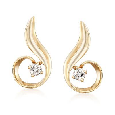 Diamond Swirl Earrings in 14 kt Yellow Gold, , default