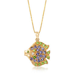 C. 1990 Vintage .90 ct. t.w. Blue Tanzanite and .60 ct. t.w. Peridot Fish Pendant Necklace in 10kt Gold, , default