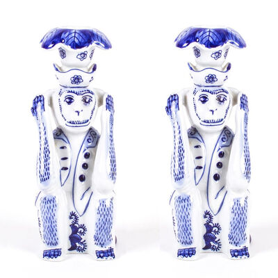Set of 2 Blue Ceramic Chinoiserie Monkey Candlestick Holders, , default