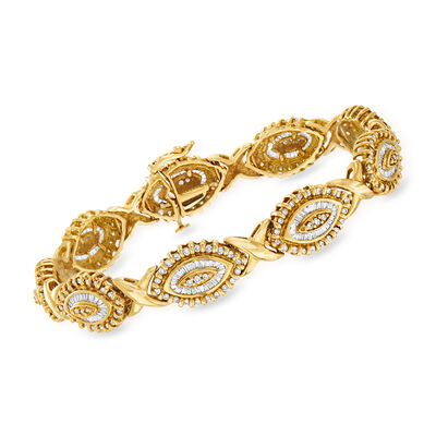 C. 1980 Vintage 4.05 ct. t.w. Diamond Cluster Link Bracelet in 14kt Yellow Gold
