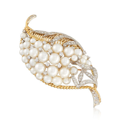 C. 1980 Vintage 4-7mm Cultured Pearl and 1.50 ct. t.w. Diamond Leaf Pin in 14kt Yellow Gold, , default