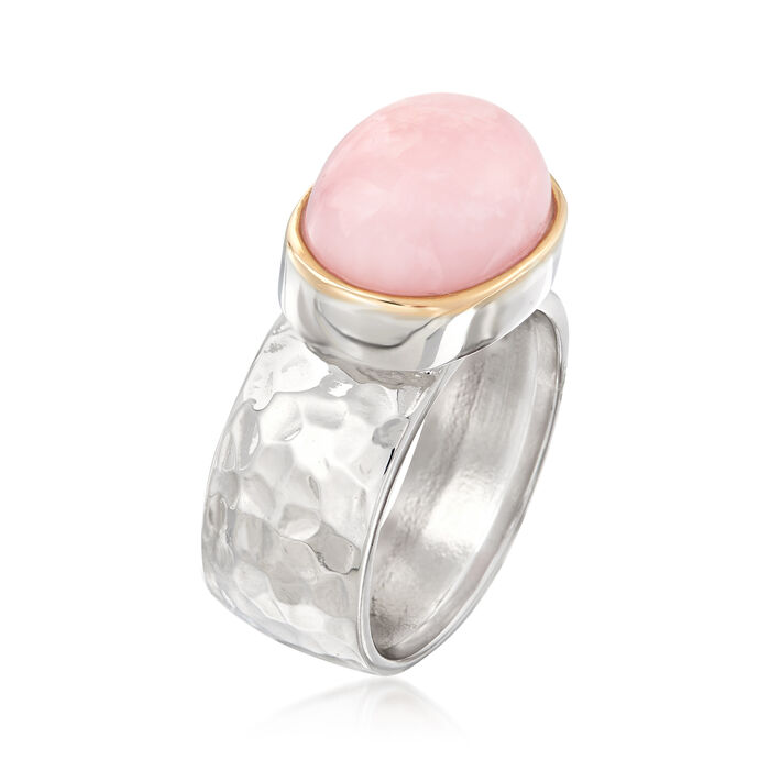 Pink Opal Ring in Sterling Silver and 14kt Yellow Gold
