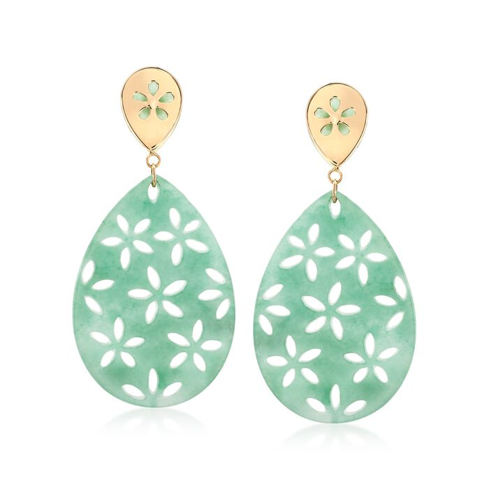 Green Jade Teardrop Earrings With Floral Designs in 14kt Yellow Gold, , default