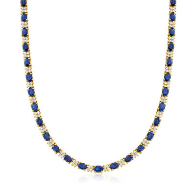 24.60 ct. t.w. Sapphire and 3.25 ct. t.w. Diamond Necklace in 14kt Yellow Gold