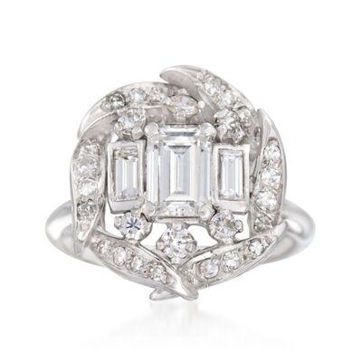 C. 1990 Vintage 1.15 ct. t.w. Multi-Cut Diamond Ring in 14kt White Gold, , default