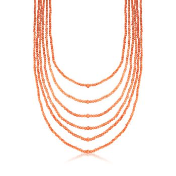 """C. 1960 Vintage 3mm Coral Bead Multi-Strand Necklace With 14kt Gold. 16.5"""", , default"""