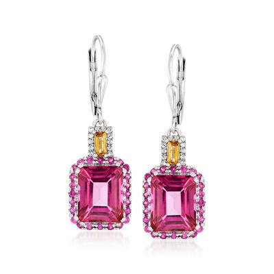9.20 ct. t.w. Multi-Gemstone Drop Earrings in Sterling Silver
