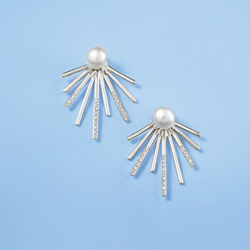 7-7.5mm Cultured Pearl and .10 ct. t.w. Diamond Spike Front-Back Earrings in Sterling Silver, , default