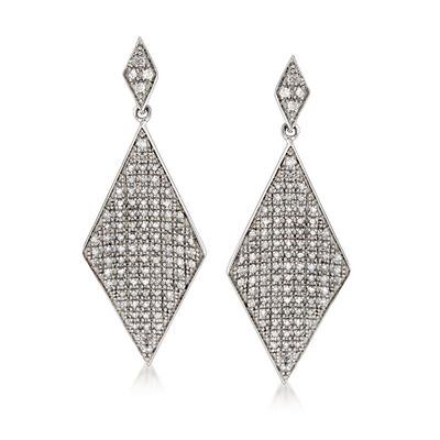 1.00 ct. t.w. Pave Diamond Kite-Shaped Drop Earrings in Sterling Silver