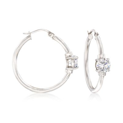 1.60 ct. t.w. CZ Station Hoop Earrings in Sterling Silver, , default