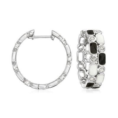 .25 ct. t.w. Diamond and Enamel Hoop Earrings in Sterling Silver