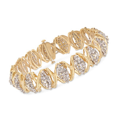 "C. 1980 Vintage 5.10 ct. t.w. Diamond ""X"" Bracelet in 14kt Yellow Gold, , default"