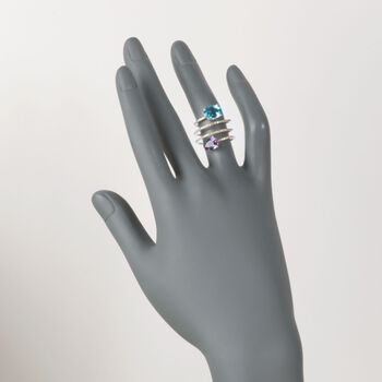1.00 Carat Amethyst and 2.00 Carat Blue Topaz Coil Ring With Diamonds in 14kt Yellow Gold, , default