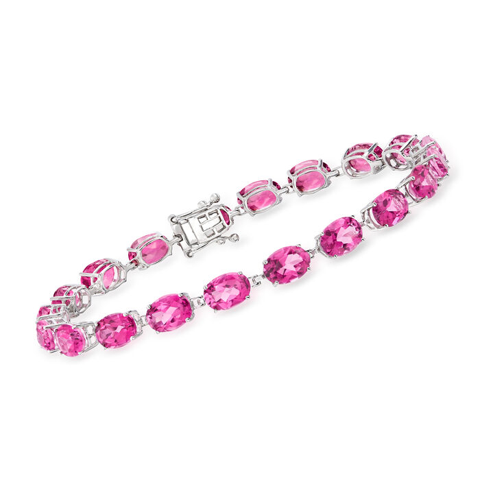 20.00 ct. t.w. Pink Topaz Bracelet in 14kt White Gold