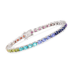 6.70 ct. t.w. Multi-Stone and Fire Opal Tennis Bracelet in Sterling Silver, , default