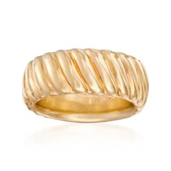 Italian Andiamo 14kt Yellow Gold Ribbed Ring, , default