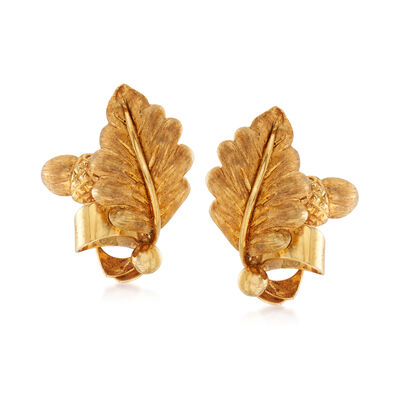 C. 1960 Vintage Tiffany Jewelry 18kt Yellow Gold Leaf and Acorn Clip-On Earrings, , default
