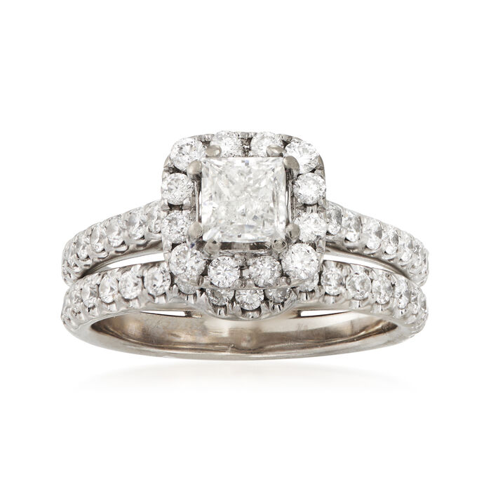 C. 2000 Vintage 1.65 ct. t.w. Diamond Bridal Set: Engagement and Wedding Rings in 14kt White Gold. Size 7. Size 6.5, , default