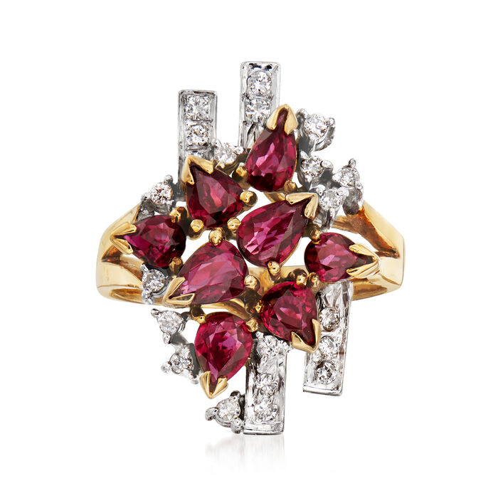 C. 1970 Vintage 2.60 ct. t.w. Ruby and .35 ct. t.w. Diamond Cluster Ring in 18kt Yellow Gold