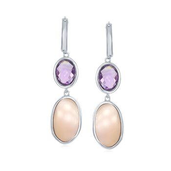 "Pink Mother-Of-Pearl and 3.30 ct. t.w. Amethyst Hoop Drop Earrings in Sterling Silver. 1 5/8"", , default"