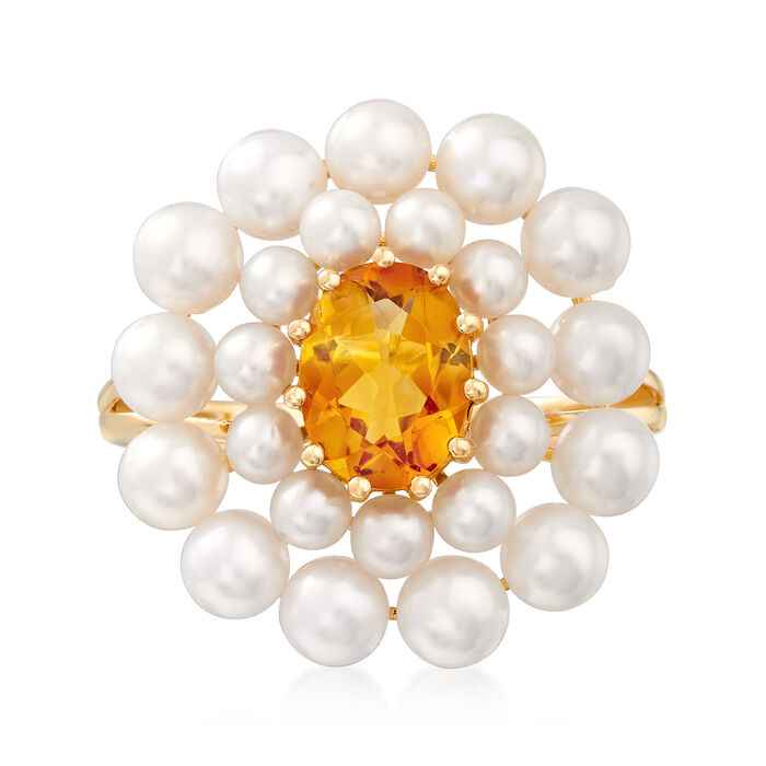 2-4mm Cultured Pearl and 1.10 Carat Citrine Ring in 14kt Yellow Gold