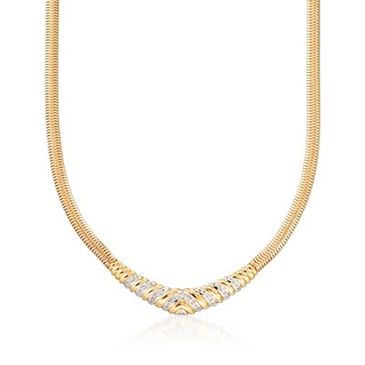 "C. 1980 Vintage .55 ct. t.w. Diamond ""V"" Snake Link Necklace in 14kt Yellow Gold, , default"
