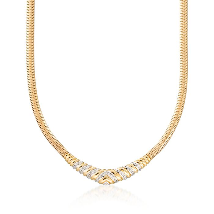 "C. 1980 Vintage .55 ct. t.w. Diamond ""V"" Snake Link Necklace in 14kt Yellow Gold. 15.5"", , default"