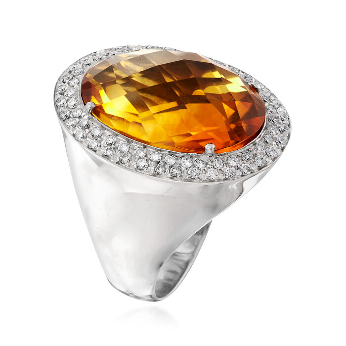 C. 1990 Vintage 12.00 Carat Citrine and .60 ct. t.w. Pave Diamond Ring in 18kt White Gold