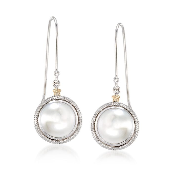10mm Cultured Pearl Drop Earrings with 14kt Yellow Gold Flowers in Sterling Silver, , default