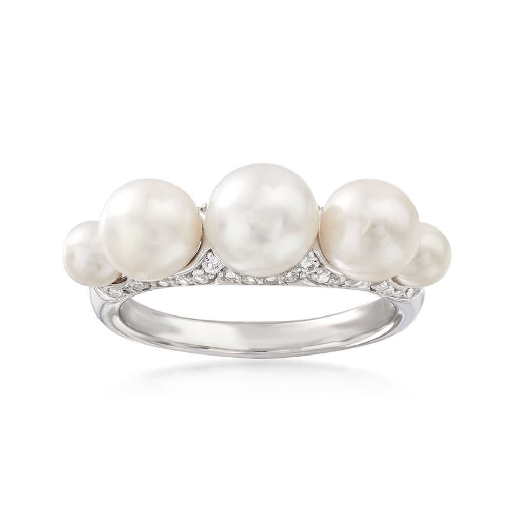 a0398f311 4-7.5mm Cultured Pearl and .30 ct. t.w. White Topaz Ring in Sterling ...