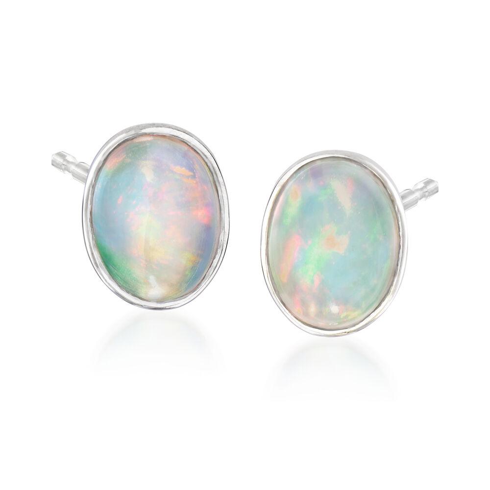 Bezel Set Opal Stud Earrings In Sterling Silver Default