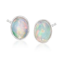 Bezel-Set Opal Stud Earrings in Sterling Silver, , default