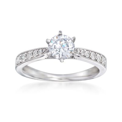 .22 ct. t.w. Diamond Milgrain Engagement Ring Setting in 14kt White Gold, , default