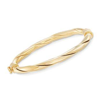 18kt Gold Over Sterling Silver Twisted Bangle Bracelet, , default