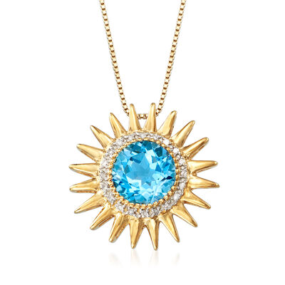 2.90 Carat Blue Topaz and .10 ct. t.w. Diamond Sun Pendant Necklace in 18kt Gold Over Sterling, , default
