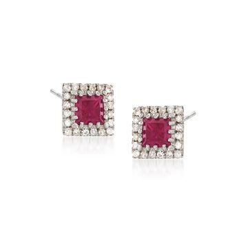 .50 ct. t.w. Ruby and .14 ct. t.w. Diamond Square Earrings in 14kt White Gold , , default