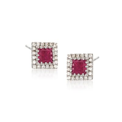 .50 ct. t.w. Ruby and .14 ct. t.w. Diamond Square Earrings in 14kt White Gold, , default
