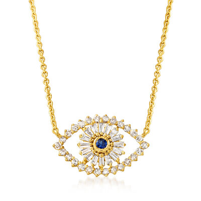 .39 ct. t.w. Diamond Evil Eye Necklace with Sapphire Accent in 18kt Gold Over Sterling