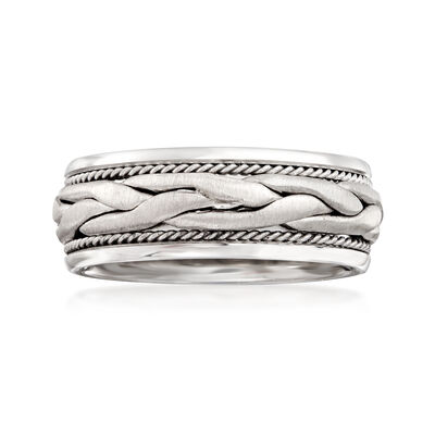 Men's 8mm 14kt White Gold Braided Wedding Band