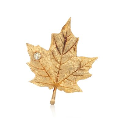 C. 1980 Vintage .20 Carat Diamond Maple Leaf Pin in 18kt Yellow Gold, , default