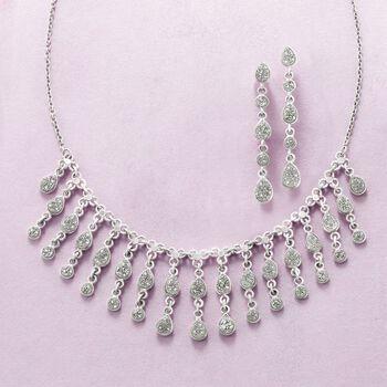 "Gray Drusy Teardrop Fringe Necklace in Sterling Silver. 18"", , default"