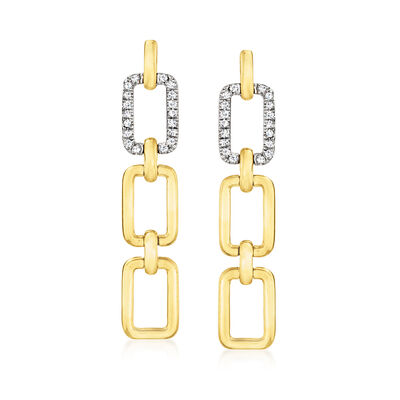 .10 ct. t.w. Diamond Rectangular-Link Drop Earrings in 14kt Two-Tone Gold
