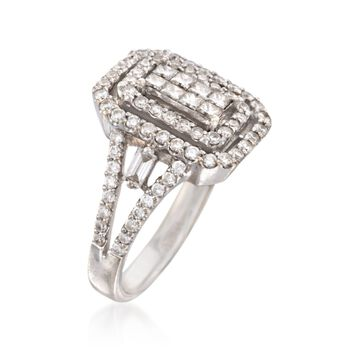 C. 1990 1.55 ct. t.w. Diamond Rectangle Ring in 18kt White Gold. Size 7, , default