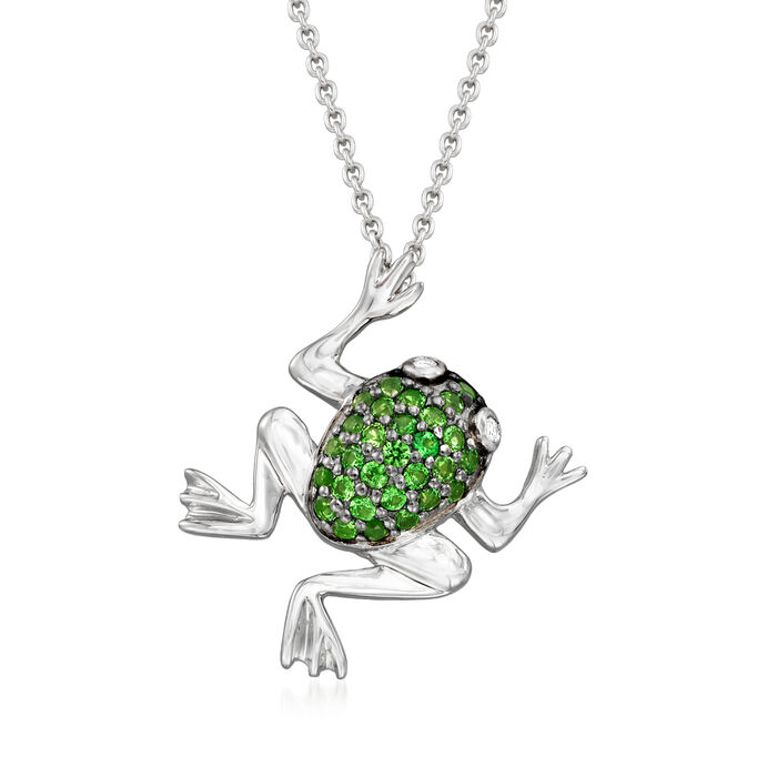 """.40 ct. t.w. Green Chrome Diopside Frog Necklace in Sterling Silver with Black Rhodium. 18"""""""