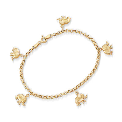 Italian Elephant Charm Bracelet in 14kt Yellow Gold, , default