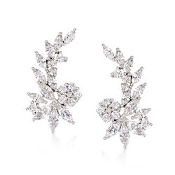 3.22 ct. t.w. CZ Floral Ear Crawlers in Sterling Silver, , default