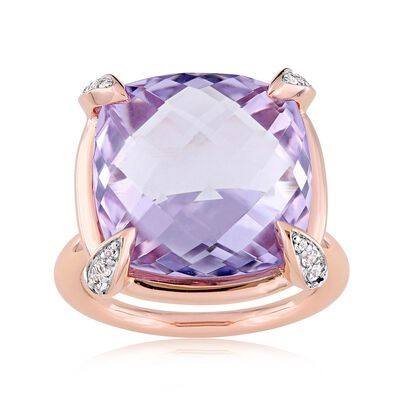 15.00 Carat Amethyst and .13 ct. t.w. White Sapphire Ring in 14kt Rose Gold, , default