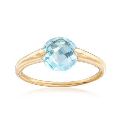 Italian 2.30 Carat Blue Topaz Ring in 14kt Yellow Gold, , default